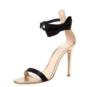 Gianvito Rossi Metallic Gold Leather And Black Satin Bow Detail Ankle Strap Open Toe Sandals Size 36