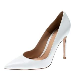 Gianvito Rossi White Leather Pointed Toe Pumps Size 37.5