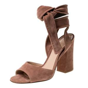 Gianvito Rossi Beige Suede Ankle Tie Sandals Size 37