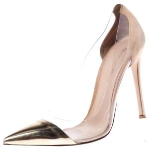 Gianvito Rossi Gold/Beige Leather, Suede and  PVC Plexi Pointed Toe Pump Size 39
