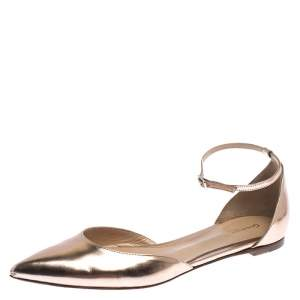 Gianvito Rossi Rose Gold Metallic Patent Leather D'Orsay Ankle Strap Flats Size 39