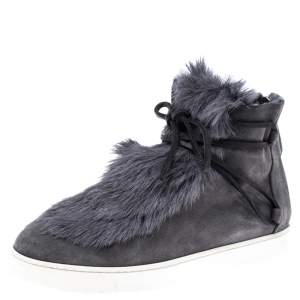 Gianvito Rossi Grey Suede And Fur Inuit Ankle Boots Size 38.5