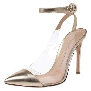 Gianvito Rossi Gold Foil Leather and PVC Plexi Pointed Toe Ankle Strap Sandals Size 38