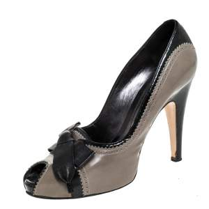 Gianvito Rossi Grey/Black Leather Bow Peep Toe Platform Pumps Size 40