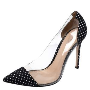 Gianvito Rossi Black Polka Dot Satin And PVC Plexi Pointed Toe Pumps Size 38.5