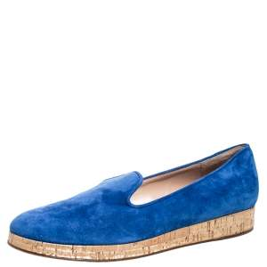 Gianvito Rossi Blue Suede Cork Platform Flat Loafers Size 39