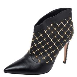 Gianvito Rossi Black Leather Studded Ankle Boots Size 37.5