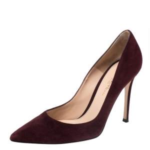 Gianvito Rossi  Burgundy Suede Gianvito 105 Pointed Toe Pumps Size 37.5