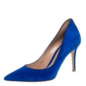 Gianvito Rossi Blue Suede Pointed Toe Pumps Size 39