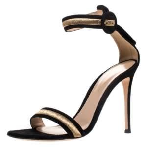 Gianvito Rossi Black Emboidered Suede Portofino Ankle Strap Open Toe Sandals Size 37