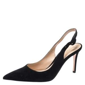 Gianvito Rossi Black Suede Anna Slingback Sandals Size 36