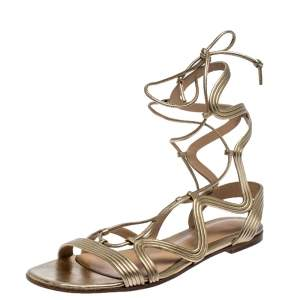 Gianvito Rossi Metallic Gold Leather Gladiator Ankle Length Flat Sandals Size 35.5