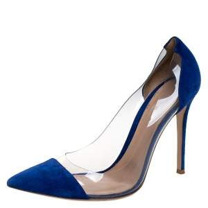 Gianvito Rossi Blue Suede And PVC Plexi Pointed Toe Pumps Size 41