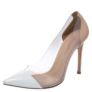 Gianvito Rossi White/Beige Leather And PVC Plexi Pointed Toe Pumps Size 38