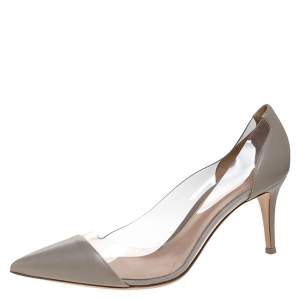 Gianvito Rossi Grey Leather And PVC Plexi Pointed Toe Pumps Size 42