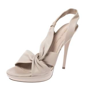 Gianvito Rossi Cream Leather Twist Detail Platform Sandals Size 37.5