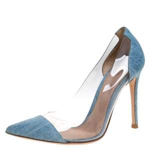 Gianvito Blue Denim and  PVC Plexi Pointed Toe Pump Size 36