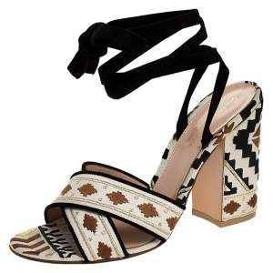 Gianvito Rossi Multicolor Embroidered Canvas And Suede Cheyenne Ankle Wrap Sandals 40