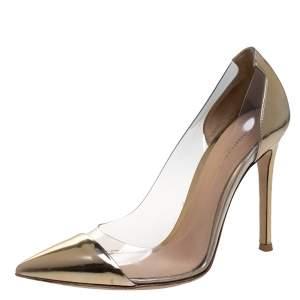 Gianvito Rossi Metallic Gold Patent Leather and PVC Plexi Pumps Size 36