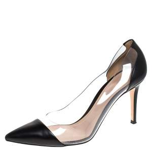 Gianvito Rossi Black Leather and PVC Plexi Pointed Toe Pumps Size 39.5