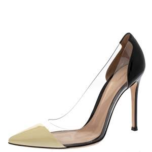Gianvito Rossi Black/White Patent Leather and  PVC Plexi Pointed Toe Pump Size 38.5