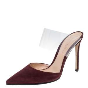 Gianvito Rossi Burgundy Suede And PVC Virtua Pointed Toe Mules Size 38