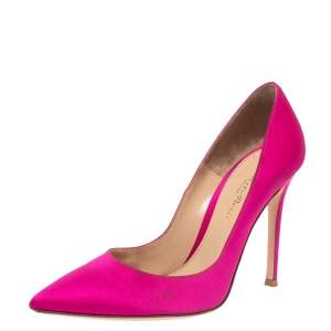 Gianvito Rossi Pink Satin Pointed Toe Pumps Size 36
