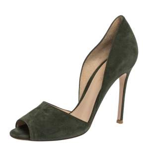 Gianvito Rossi Moose Green Suede Peep Toe D'orsay Pumps Size 37