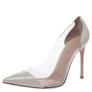 Gianvito Rossi Cream Patent Leather And PVC Plexi Pointed Toe Pumps Size 39.5