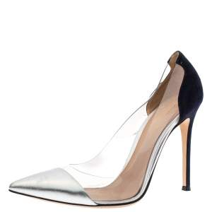 Gianvito Rossi Silver/Black Leather/Suede and  PVC Plexi Pointed Toe Pump Size 39