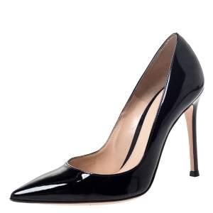 Gianvito Rossi Black Patent Leather Pointed Toe Pumps Size 36