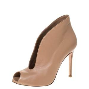 Gianvito Rossi Beige Leather V Neck Peep Toe Booties Size 36.5