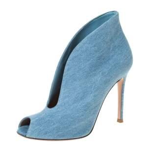 Gianvito Rossi Blue Denim V Neck Peep Toe Booties Size 36