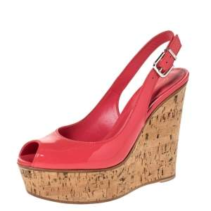 Gianvito Rossi Coral Pink Patent Leather Cork Wedge Peep Toe Platform Slingback Sandals Size 37