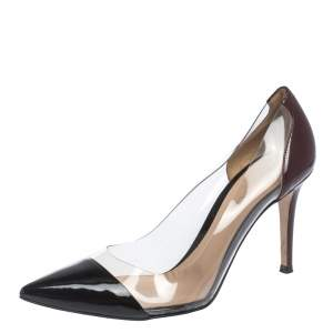 Gianvito Rossi Black/Burgundy Patent And PVC Plexi Pumps Size 38.5