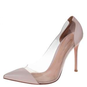 Gianvito Rossi Blush Pink Leather And PVC Plexi Pointed Toe Pumps Size 40.5