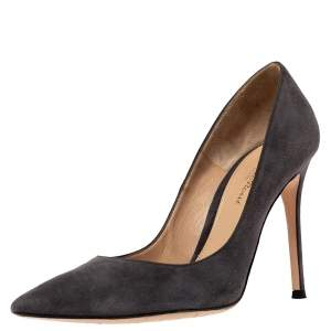 Gianvito Rossi Grey Suede Leather Pointed Toe Pumps Size 38.5