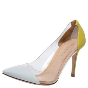 Gianvito Rossi White/Yellow Leather And PVC Plexi Pointed Toe Pumps Size 39