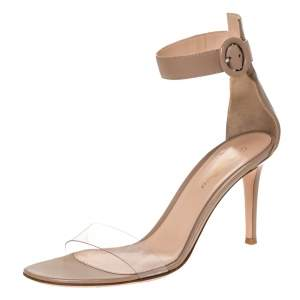 Gianvito Rossi Beige Leather And PVC Plexi Trasp Ankle Cuff Sandals Size 39