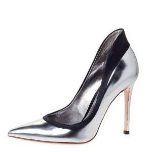 Gianvito Rossi Metallic/Black Leather and Satin Pointed Toe Pumps Size 35.5