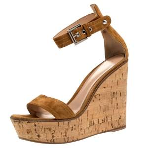 Gianvito Rossi Brown Suede Leather Cork Wedge Platform Ankle Strap Sandals Size 39.5