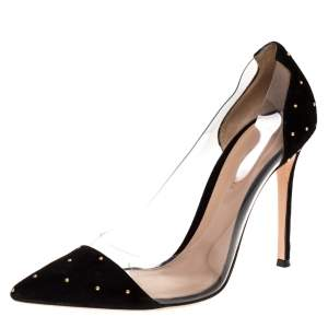 Gianvito Rossi Black Suede and PVC Plexi Pointed Toe Pumps Size 40
