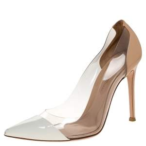 Gianvito Rossi Beige/White PVC and Leather Plexi Pointed Toe Pumps Size 36.5