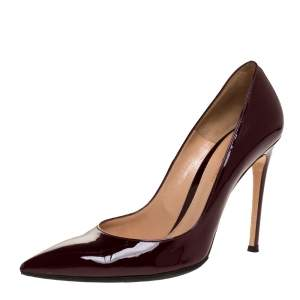 Gianvito Rossi Burgundy Patent Leather Pointed Toe Pumps Size 39.5
