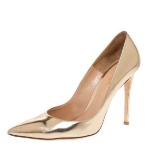 Gianvito Rossi Metallic Gold Leather Pointed Toe Pumps Size 39.5