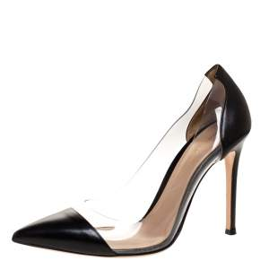 Gianvito Rossi Black Leather And PVC Plexi Pointed Toe Pumps Size 36