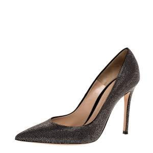 Gianvito Rossi Silver Crystal Embellished Suede Leather Lennox Pointed Toe Pumps Size 39.5