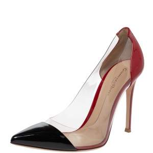 Gianvito Rossi Red/Black Patent Leather and PVC Plexi Pointed Toe Pumps Size 39
