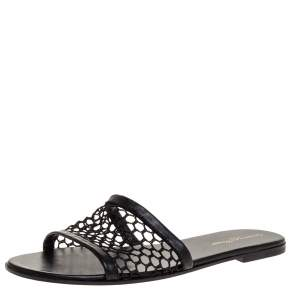 Gianvito Rossi Black Fish Net And Leather Trim Flat Sandals Size 38.5