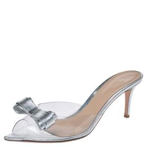 Gianvito Rossi Silver Leather And PVC Bow Slide Sandals Size 40